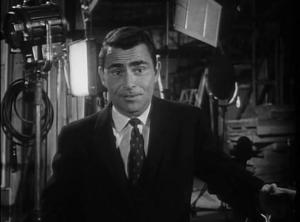 "Serling appears in a short film introducing advertisers to ""Where is Everybody?"""