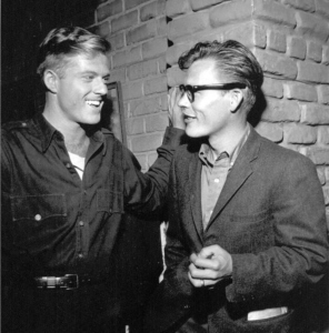 """Robert Redford ad George Clayton Johnson on the set of """"Nothing in the Dark"""""""